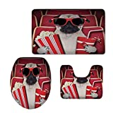 Fashion 3D Baseball Printed,Pug,Funny Dog Watching Movie Popcorn Soft Drink and Glasses Animal Photograph Print,Red Cream Ruby,U-Shaped Toilet Mat+Area Rug+Toilet Lid Covers 3PCS/Set
