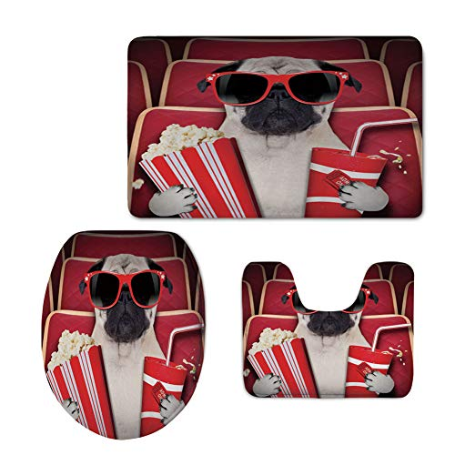 Fashion 3D Baseball Printed,Pug,Funny Dog Watching Movie Popcorn Soft Drink and Glasses Animal Photograph Print,Red Cream Ruby,U-Shaped Toilet Mat+Area Rug+Toilet Lid Covers 3PCS/Set by iPrint