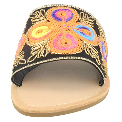 Savannah Ladies Patterned Casual Mules Black Gkupux