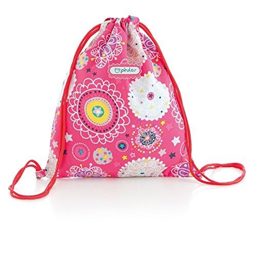 Pirulos 48030509 - Bolsa merienda, diseño folk, 26 x 23 cm, color fresa Coimasa