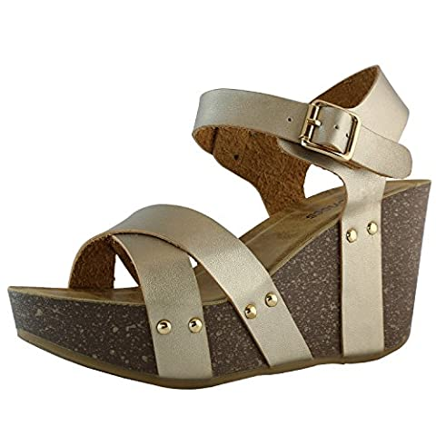 DailyShoes Women's women's women's Platform Wedge Sandals Slide On Comfort Thick Cork Board Criss Cross Sandal Buckle Shoes, Champ PU, 7 B(M) - Cork Platform Sandals