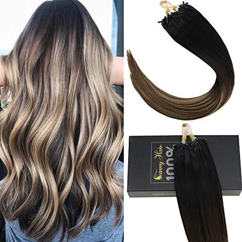 Sunny Extensions Human Hair Natural Remy Micro Ring Hair Extensions Human Hair #1B Natural Black Root to Dark Brown Mixed Dark Ash Blonde Real Human Hair Extensions for Women(14inch 50g/pack)