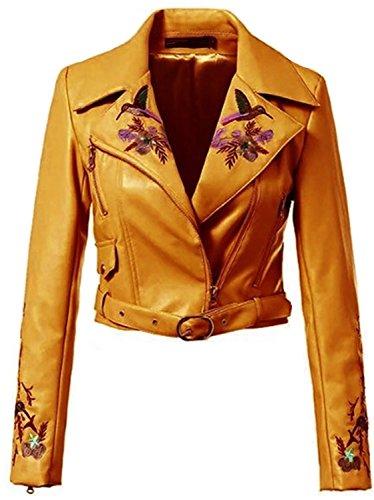 Corto Chamarra Large Asimétrico Bordados Chaqueta Sintética del Cuello Cremallera Notch Flores Cuero Faux Corta Jacket Moto Biker Top Flor Marrón Lapel Piel Cazadora HTFpwqq