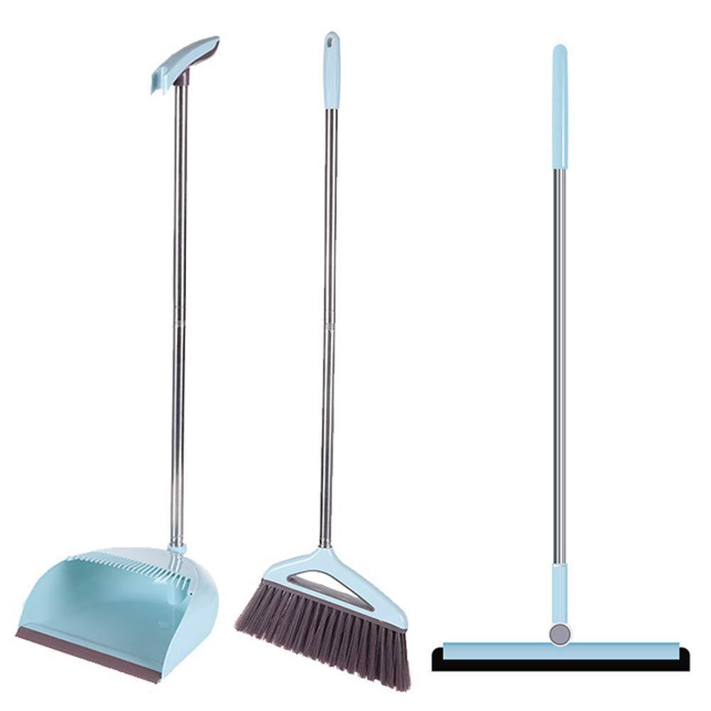 YJIUJIU Broom and Dustpan Set, 3 Piece Grips Sweep Set with Dust Pan, Floor Squeegee, Handle Extendable Lobby Broom Combo Set for Cleaning Home Kitchen Garden Room Office Floor by YJIUJIU (Image #1)