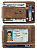 NapaWalli Genuine Leather Magnetic Front Pocket Money Clip Slim Minimalist Wallet (Crazy Horse Khaki)