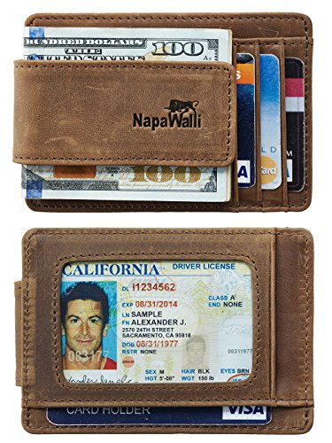 NapaWalli Genuine Leather Magnetic Front Pocket Money Clip Wallet RFID Blocking (Crazy Horse Khaki)