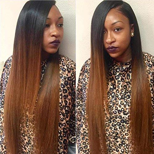 0c6a99837 Human Hair Straight full lace wig 100% Real Brazilian Hair Ombre Black  Roots 1B 30