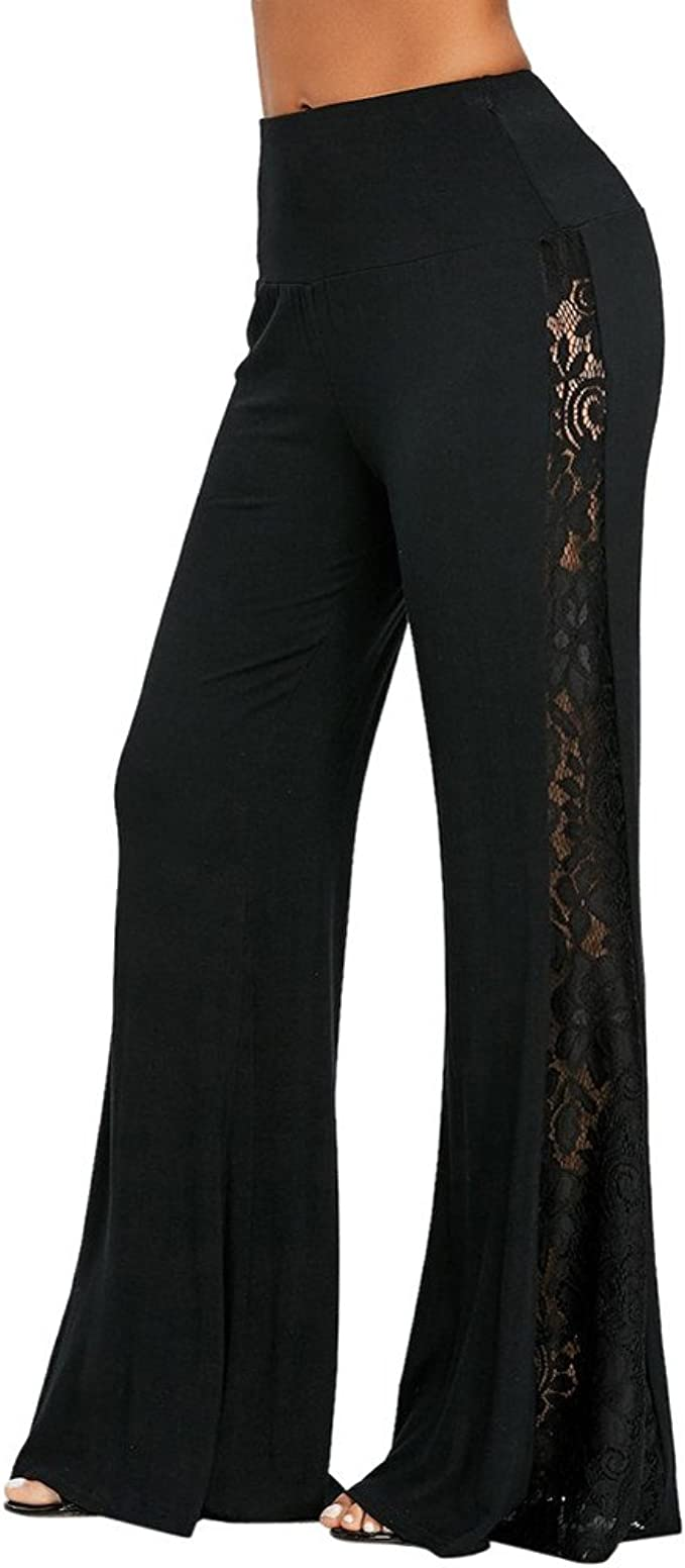 Pongfunsy Womens Comfy Casual Pajama Pants Floral Print Drawstring Palazzo Lounge Pants Wide Leg Yoga Pants Plus Size