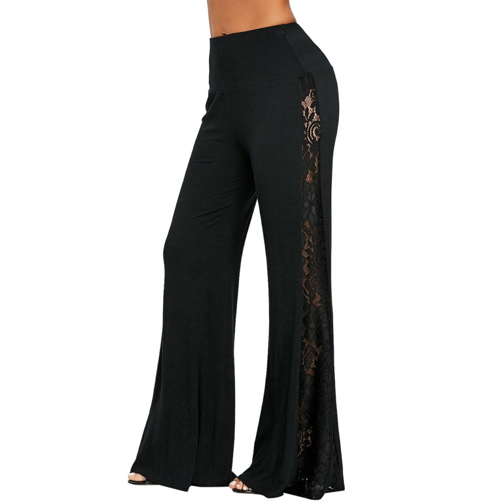 0538101bdd Top9: Respctful Fashion High Waist Lace Insert Wide Leg Pants Loose  Trousers Yoga Pants for Women