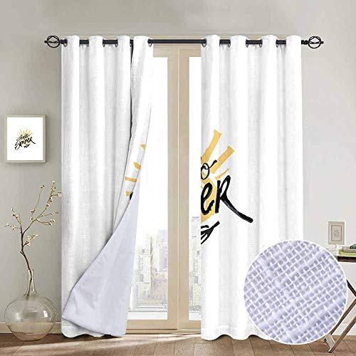 Blackout Curtains Hello Summer,Artistic Modern Brush Calligraphy and Sun Illustration Hand Drawn in Color,Mustard Black,Thermal Insulated Panels Home Décor Window Draperies for Bedroom a120