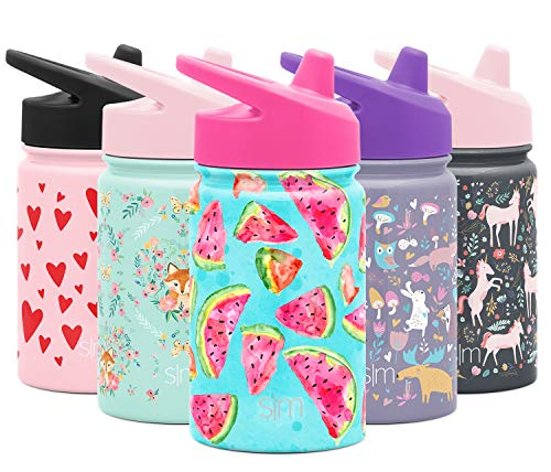 Simple Modern Kids Summit Sippy Cup Thermos 10oz - Stainless Steel Toddler Water Bottle Vacuum Insulated Girls and Boys Hydro Travel Cup Flask -Watermelon Splash Purple