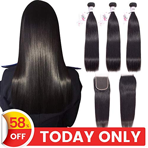 TRIO Mink Brazilian Straight Virgin Hair 3 Bundles with 4x4 Lace Closure 100% Unprocessed Remy Human Hair Weaves 8A Hair Extensions Natural Black Color (18 20 22 with 16)