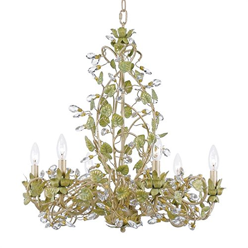 - Crystorama 4846-CT Crystal Accents Six Light Chandelier from Josie collection in Lightfinish, 24.00 inches