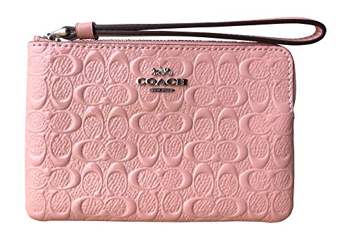 Coach Signature Debossed Patent Leather Corner Zip Wristlet (Petal)
