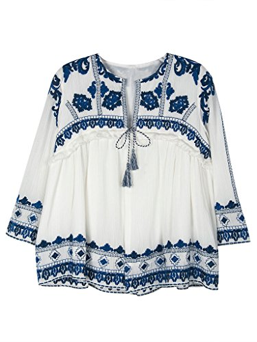 Persun Floral Embroidery Ruched Blouse