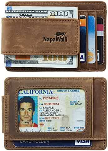 NapaWalli Genuine Magnetic Napa Leather Front Pocket Money Clip Slim Minimalist Wallet Made with Powerful RARE EARTH Magnets Plus RFID Blocking