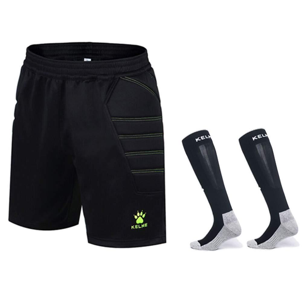 KELME Goalkeeper Padded Shorts and Socks Bundle (Black/Yellow, X-Small) by KELME