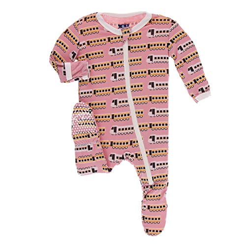 (Kickee Pants Print Footie with Zipper | India Collection | (18-24 Months, Desert Rose Indian Train))