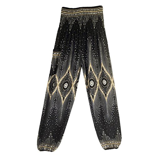 Memela Women's Smocked Waist Floral Rayon Yoga Pants,Thai Harem Trousers Boho Festival Hippy Smock High Waist Yoga Pants (Black) ()