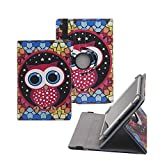 Tsmine Samsung Galaxy Tab E 8.0 Rotating Case Cartoon for Kids - Universal Protective Cute Owl Printed Rotary Leather Case Stand Cover for Samsung Galaxy Tab E 8.0 SM-T375, Owl Under the Stars