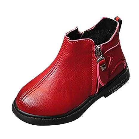 ZHRUI Botas para bebés, niños Calzado sólido sólido Cremallera Botines Fleece Zapatillas Martin para correr