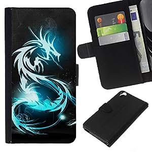 """JackGot ( Azul resplandor del dragón tribal"""" ) HTC Desire 820 la tarjeta de Crédito Slots PU Funda de cuero Monedero caso cubierta de piel"""