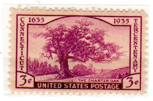 Single 772 (Postage Stamps United States. One Single 3 Cents Violet Charter Oak, Connecticut Tercentenary Issue Stamp Dated 1935, Scott #772.)