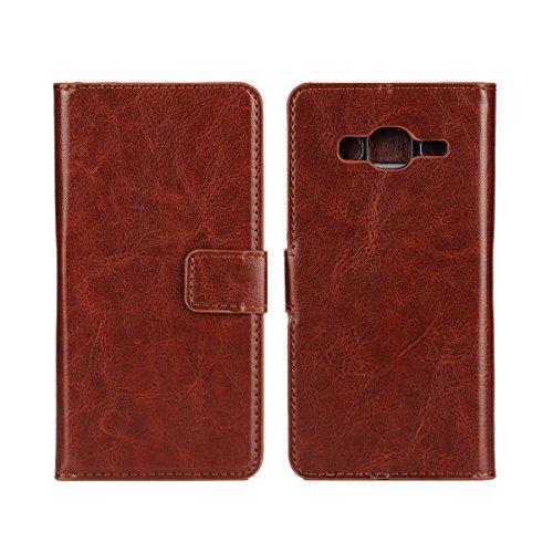 Galaxy J3 (2016) Funda,COOLKE Retro PU Leather Wallet With Card Pouch Stand de protección Funda Carcasa Cuero Tapa Case Cover para Samsung Galaxy J3 (2016) 5.0 - Rosa Marrón