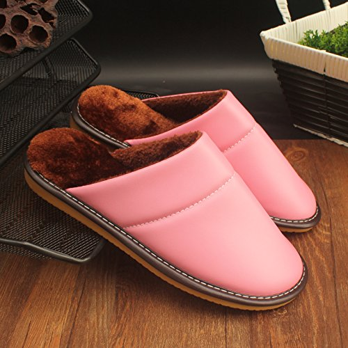 L'anti-slittamento delle carni bovine vero tendine inferiore soggiorno di nozze in spogliatoio, un paio di uomini e di donne in elegante pelle pantofole caldo inverno ,35-36, 25, rosa