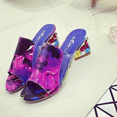De Red Grandes Pantoufles Sandales 40 Summer Chaussures Épais XING Avec Style 38 New De Black GUANG Bouche De Femmes Taille Poisson Et Mode Pantoufles Femmes De 4ScF8H