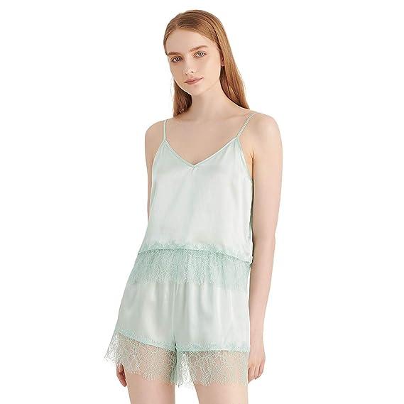 5289a1b8b6 LilSilk Silk Camisole Set for Women 19 Momme Lace Trimmed Natural Silk Cute  Soft Summer PJs