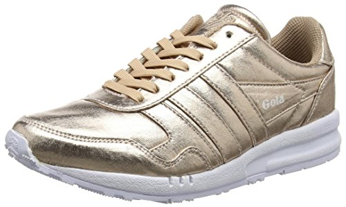 Rose Classics Gold Textile White Metallic Relay Gola Women's Trainer 41qPwX