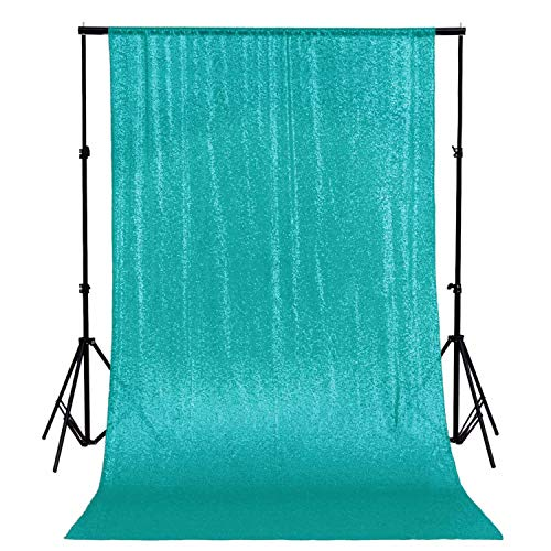 ShinyBeauty Sequin Backdrop Curtain 9FTx9FT Teal Glitter Photo Booth Background Wedding Ceremony Backdrop Great Gatsby Party Decorations -