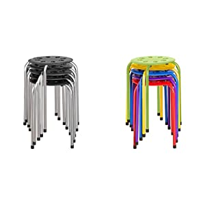 Norwood Commercial Furniture Plastic Stack Stools Black w/Silver Legs (Pack of 5) & NOR-1101AC-SO Plastic Stack Stools, 17.75%22 Height, 11.75%22 Width, 11.75%22 Length, Assorted Colors (Pack of 5)