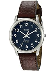 Timex Mens T2P319 Easy Reader Brown Leather Strap Watch