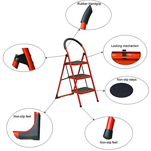 Centurich 3-Step Folding Stool Steel Step Stool Foldable Step Ladder with Rubber Handgrip and Non-slip Treads (Red)