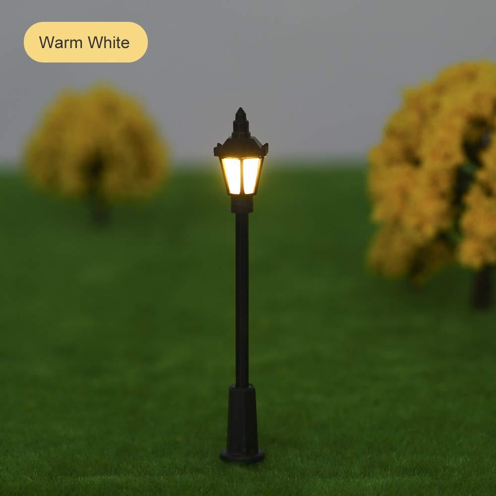 20pcs Warm White Model Street Lights Layout Lamppost Railway Train Garden Playground Scenery Led Lamp Lighting 1:75 Scale 100mm