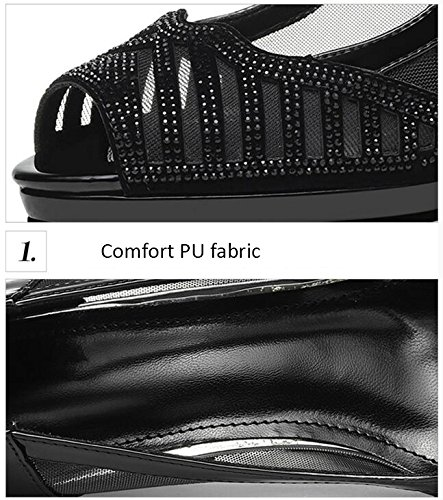 Sandals Women's Shoes PU Spring Summer Comfort Novelty Heels High Heel Peep Toe Rhinestone Rivet for Wedding Party & Evening Black Stylish/comfortable (Color : A, Size : EU36/UK4/CN36) A
