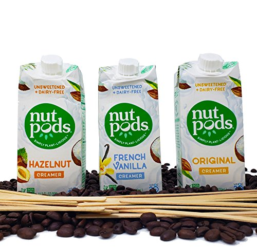 Nutpods Variety 3-Pack of Unsweetened Dairy-Free Creamers Bundled with Royal 100% Natural Birch-wood Stirrers - Vegan, Non-GMO, Whole30, Keto, Paleo - For Shakes, Coffee, Tea and Cooking
