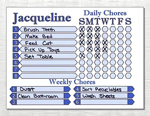 Daily Weekly Chore Chart for Kids use Dry Erase Markers Customize color and name ()