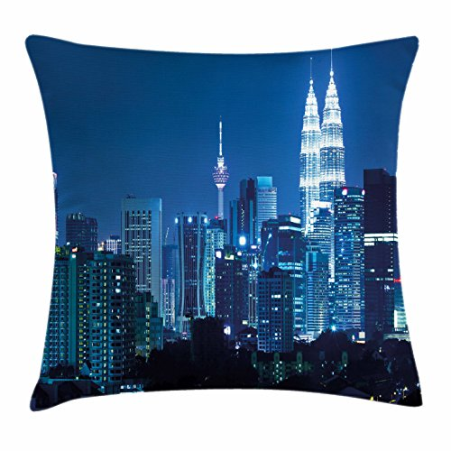 Cityscape Throw Pillow Cushion Cover by Ambesonne, Kuala Lumpur Skyline Night KLCC Twin Towers Malaysian Landmark Monochromic Photo, Decorative Square Accent Pillow Case, 36 X 36 Inches, Navy - Malaysian Women Pictures