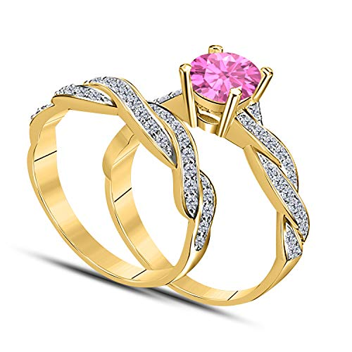 (DreamJewels Infinity Twist Style 1.00 CT Lab Created Pink Sapphire Round Shape 14k Yellow Gold Plated Wedding Engagement Bridal Set Ring Ladies)