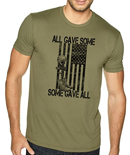 SignatureTshirts Men's All Gave Some Some Gave All T-Shirt (Black Print) M Olive ()