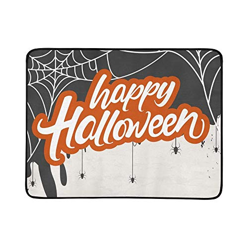 GIRLOS Creative Scary Halloween Celebration Happy Portable and Foldable Blanket Mat 60x78 Inch Handy Mat for Camping Picnic Beach Indoor Outdoor Travel -