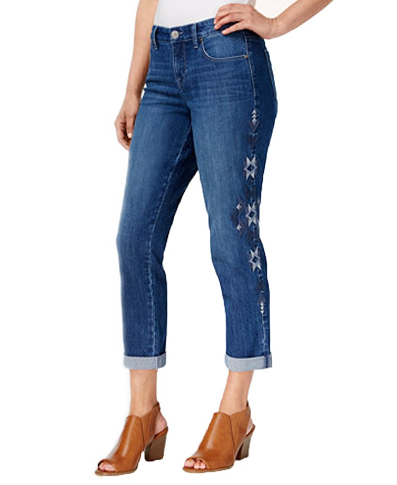 Style & Co.. Curvy Embroidered Boyfriend Jeans (Je Empire, 8)