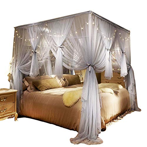 Nattey 4 Corners Post Canopy Bed Curtain for Girls Boys & Adults - 4 Opening with Led Light- Princess Bedroom Decoration (King, Gray)