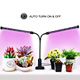 [Auto Turn On/Off] 18W Dual Head Timing Plant Grow Lights, 36 LED Chips with Red/Blue Spectrum for Indoor Plants, 5 Dimmable Levels, 3/6/9/12/15H Timer, Adjustable Gooseneck [DZLight]