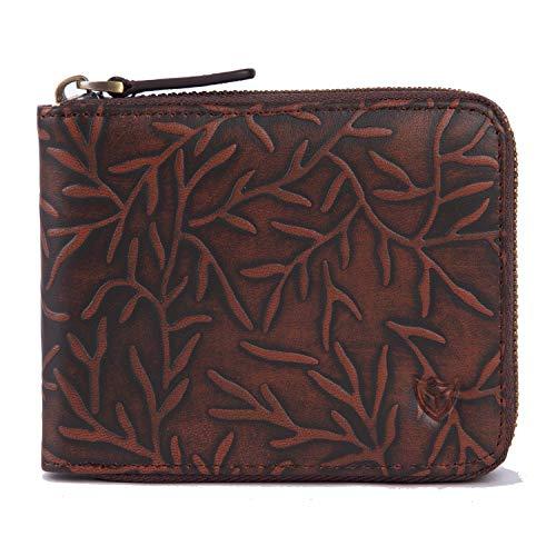 RFID Men's Leather Zipper wallet Zip Around Wallet Bifold Multi Card Holder Purse (Vine Red)