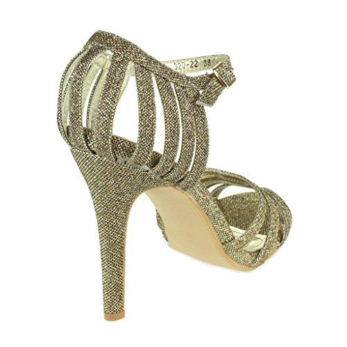 Mujer Señoras Sparkly Correas de diamante Metálico Tacones altos Noche Fiesta Nupcial Boda Paseo Sandalias Zapatos Talla Marrón