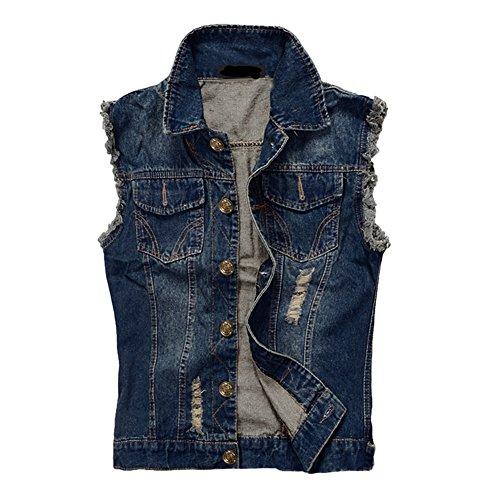 Zicac Herren Weste Slim Fit Beiläufige Cowboy Weste im Modern Design Jeansweste (Asien 3XL - EU L, Blau)